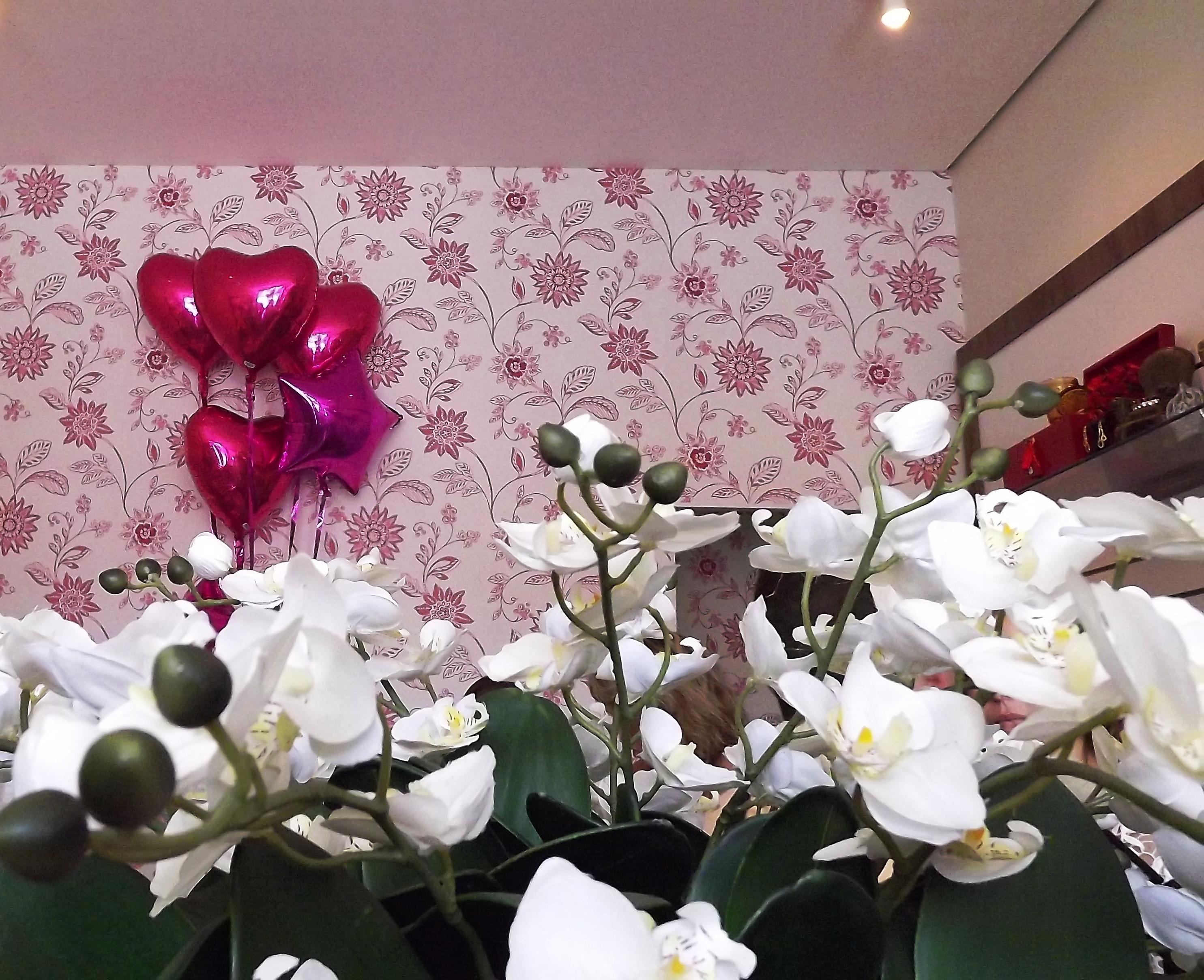 balões e flores