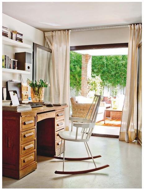 escritório e cadeira de balanço