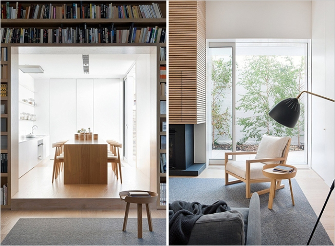 Uma sala para receber e uma linda biblioteca