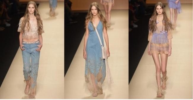 O jeans azul em tom médio e uma proposta hippie da estilista Alberta Ferretti em sua coleção Verão 2015, Transparências, franjas e florais aparecem em detalhes.